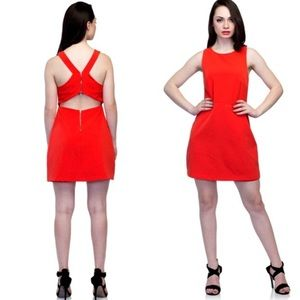 ZARA Red Orange Cut Out Back Zip Dress